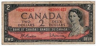 1954 Bank Of Canada Two 2 Dollar Replacement Bank Note *bb 2006423 Nice Bill