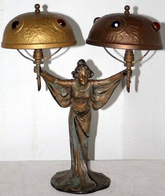 Antique Arts & Crafts Cold Painted Bronze Figural Double Light Jeweled Lamp.