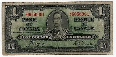 1937 Bank Of Canada One 1 Dollar Bank Note Mn 6056091 Nice Bill