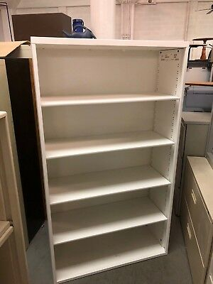 """36""""Wx14""""Dx 63 1/2""""H Heavy Duty Metal Bookcase byHaworth Office Furniture inWhite"""
