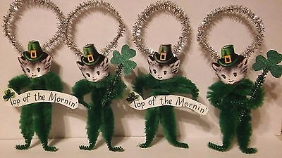 4 Vintage Style St. Patrick's Day Kittens Ornaments Favors Tags Top O the Mornin