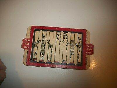 Vintage Cracker Jack Cereal Prenium Toy Monkeys In The Cage Paper Push And Pull