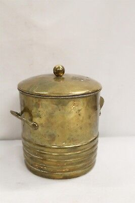 Art Deco Chase 2 Handled Ball Ribbed Brass Industrial Ice Bucket with Insert