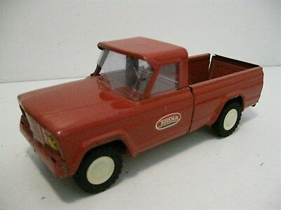 "Vintage 1960's 9"" Pressed Steel Red Tonka Jeep Truck Pick Up Car"