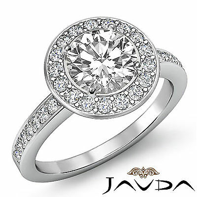 Huge Round Diamond Antique Style Engagement Ring GIA I SI1 14k White Gold 2 ct