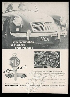 1958 MG MGA car photo suspension art vintage print ad