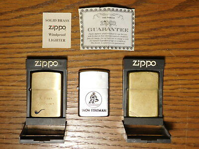 "LOT OF 3x - Vintage Zippo Lighters, ""Iron Fireman"" Advertising, & Brass Pipe...."