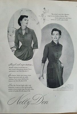 1949 women's dress fashion by Nelly Don vintage clothing ad
