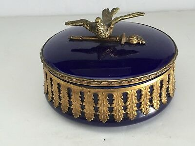 Antique Paul Milet Sevres Porcelain Round Covered Box with BIRD Finial Ormolu