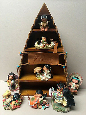 FRIENDS Of The FEATHER Figurines W/Canoe Display-6-Large & 2-Miniature!