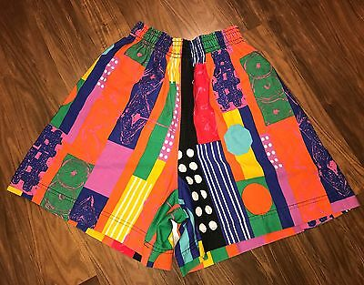 Vtg 80s 90s Mens SMALL Colorblock BIS neon Skate Beach jams Surf board shorts S