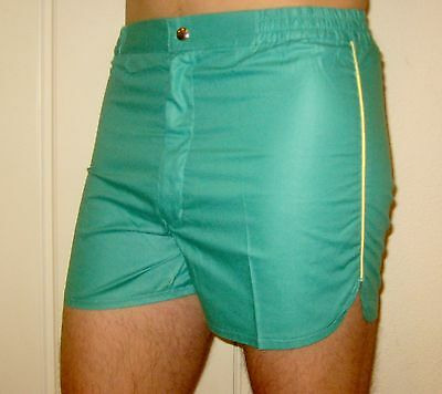 NEW Vtg 70s 80s Vanderbilt GREEN Striped Mens SMALL Retro TENNIS Track shorts S