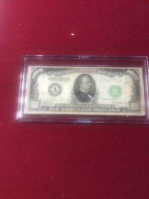 1934 A One Thousand Dollar $1000 Bill Note Boston Massachusetts Lght Green Seal