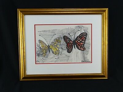 RARE original Charles Blackman Watercolour & Ink Drawing Butterflies Signed