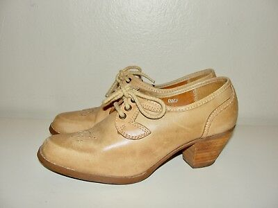 VINTAGE BOHO 70s THOM MCAN TAN LEATHER LACE-UP OXFORD WOOD HEELS SHOES*6-6.5