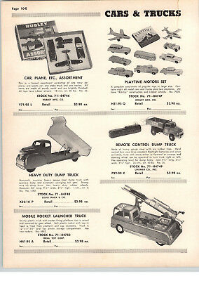 1955 PAPER AD Ideal Toy Mobile Rocket Launcher Truck Marx Dump Hublry Tootsietoy