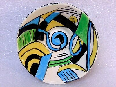 vintage MODERN ART BOWL pottery HANDCRAFTED unique BEAUTIFUL DESIGN signed LS