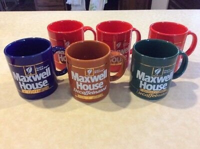 """6 Vintage Maxwell House Coffee Cups;""""good To The Last Drop"""";red/blue/green/tan"""