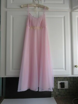 Vtg Vanity Fair Pink Lilac Chiffon Negligee Ballerina Length Nightgown Size 36
