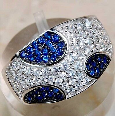 2CT Sapphire & White Topaz 925 Solid Genuine Sterling Silver Ring Jewelry Sz 9