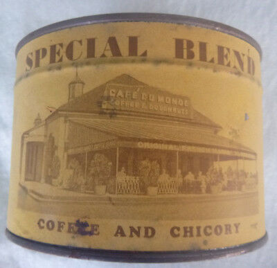 unopened Cafe' Du Monde Coffee Chicory 1 LB Key Wind Tin paper label New Orleans