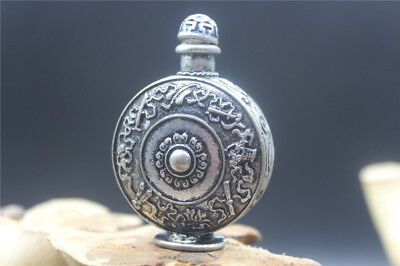 Antique Chinese Artwork Hand-carved Tibetan Silver Snuff Bottle Beautiful Design