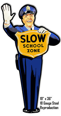 "Laser Cut Out Metal Sign Slow School Zone 19""x36"" Crossing Guard Wall Art"