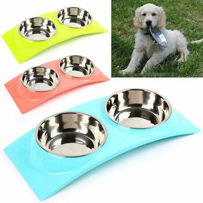 Twin Pet Stainless Inner Bowl Dog Cat Feeder Food Water Raised Lifted Stand Pair