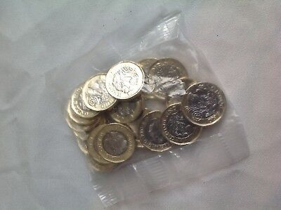 British, English pound coins. £20 in coins, new UNC 12 sided from Royal Mint UK