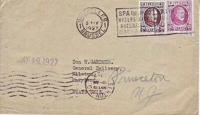 Belgium - Sea Mail from Brussels to Princeton University, USA (PC) 1927
