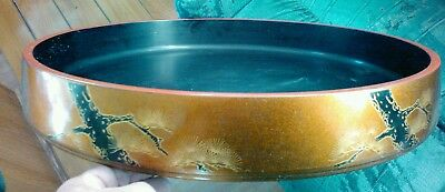signed asian lacquer tea stand table lacquerware tray 21 inches