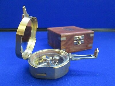 'Stanley London' Natural Sine Solid Brass Nautical/Maritime Compass In Wood Case
