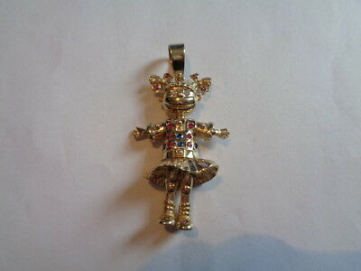 9ct gold articulated clown rag doll with ruby pendant charm 9ct gold rag doll pendant uk hallmarks mozeypictures Images