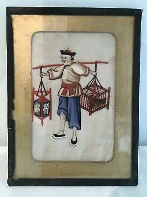 Antique Hand Painted Chinese Rice Paper Painting Pith)