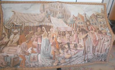 6'x4' Vintage C1920 Woven Tapestry English Tudor Street Bordered Lined Hanging