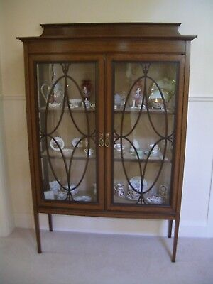 EDWARDIAN Handsome Authentic Mahogany Inlaid Display Cabinet - Virtually Perfect