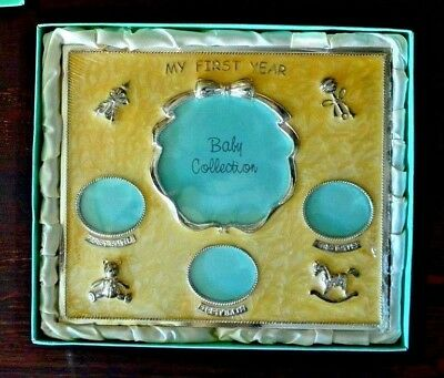 Vintage Baby Collection My First Year Picture Frame 1st Smile 1st Bath 1st Step