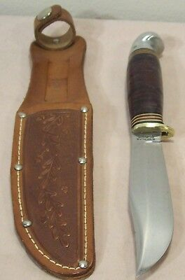 1950's~COAST CUTLERY~WESTERN~PAT'D.~VINTAGE HUNTING KNIFE w/ORIG. LEATHER SHEATH