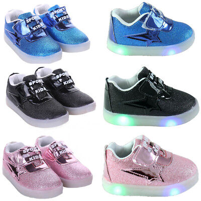 Toddler Kids Boys Girls Light Up LED Flashing Trainers Sneakers Running Shoes UK
