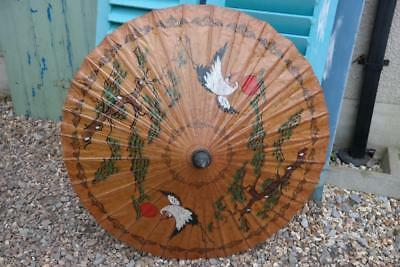 Stunning Vintage Oriental Parasol Hand Painted Highly Decorative With Birds CHIC