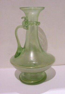Art Nouveau Loetz Olympia Glass Vase With Handle