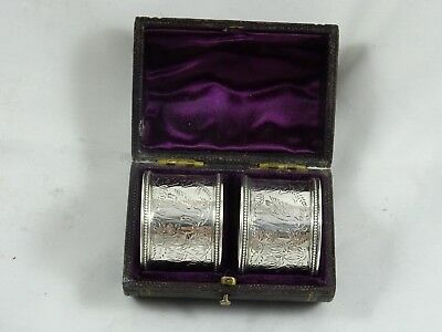 VICTORIAN pair, solid silver NAPKIN RINGS, 1878, 33gm
