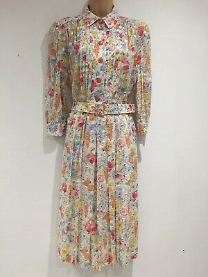 Vintage 80's Retro Pretty White Pink Yellow Blue Floral Pleated Belted Dress 14