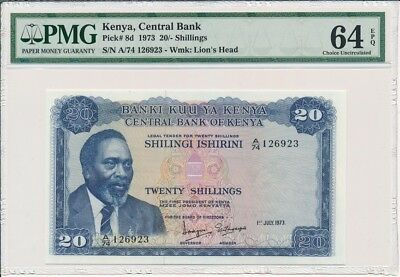 Central Bank  Kenya  20 Shillings 1973  PMG  64EPQ