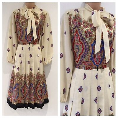 Vintage 70's Cream Red & Blue Classical Print Pussy Bow Pleated Dress Size 10