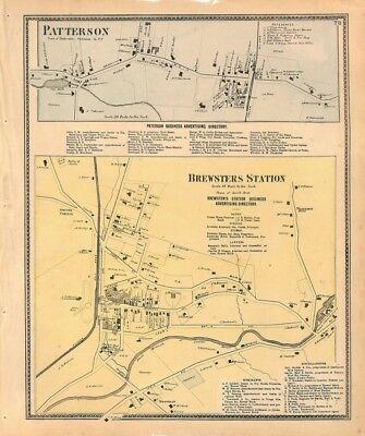 Patterson, Brewsters Station, Putnam County, New York, Original Antique Map 1867