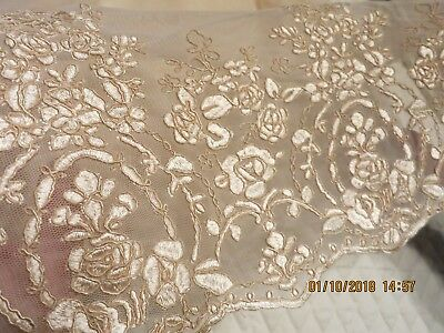 """VINTAGE FLOUNCE HEAVY EMBROIDERED ON TULLE BARELY NUDE DOLL TRIM 36x17"""" last pc"""