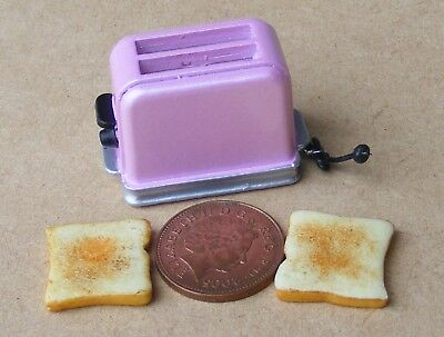 1:12 Scale Pop Up Pink Toaster And 2 Bread Slices Dolls House Kitchen Accessory