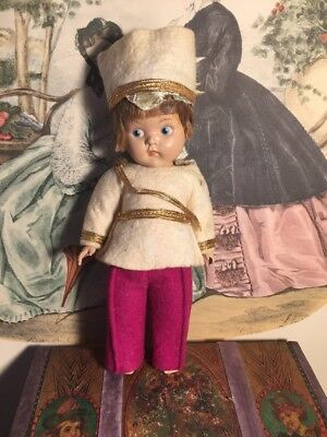 ~ As Is As Found! Vintage Painted Eye Strung Ginny Boy Doll ... Tagged ~