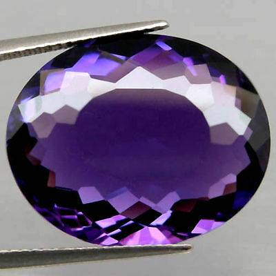 LARGE 18x14mm OVAL-FACET DEEP-PURPLE NATURAL AFRICAN AMETHYST GEM (APP £402)